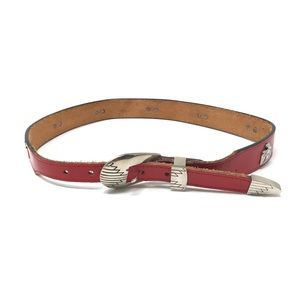 Vintage Western Belt Red Leather Silver Tone Charm